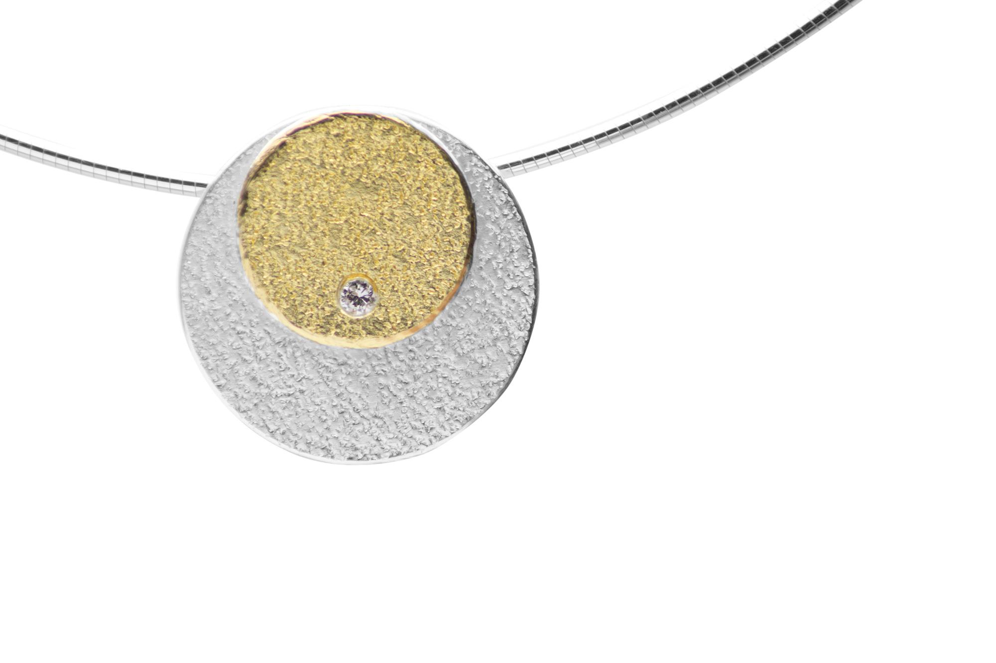 Anhänger, Gelbgold, Silber, Brillant 320€