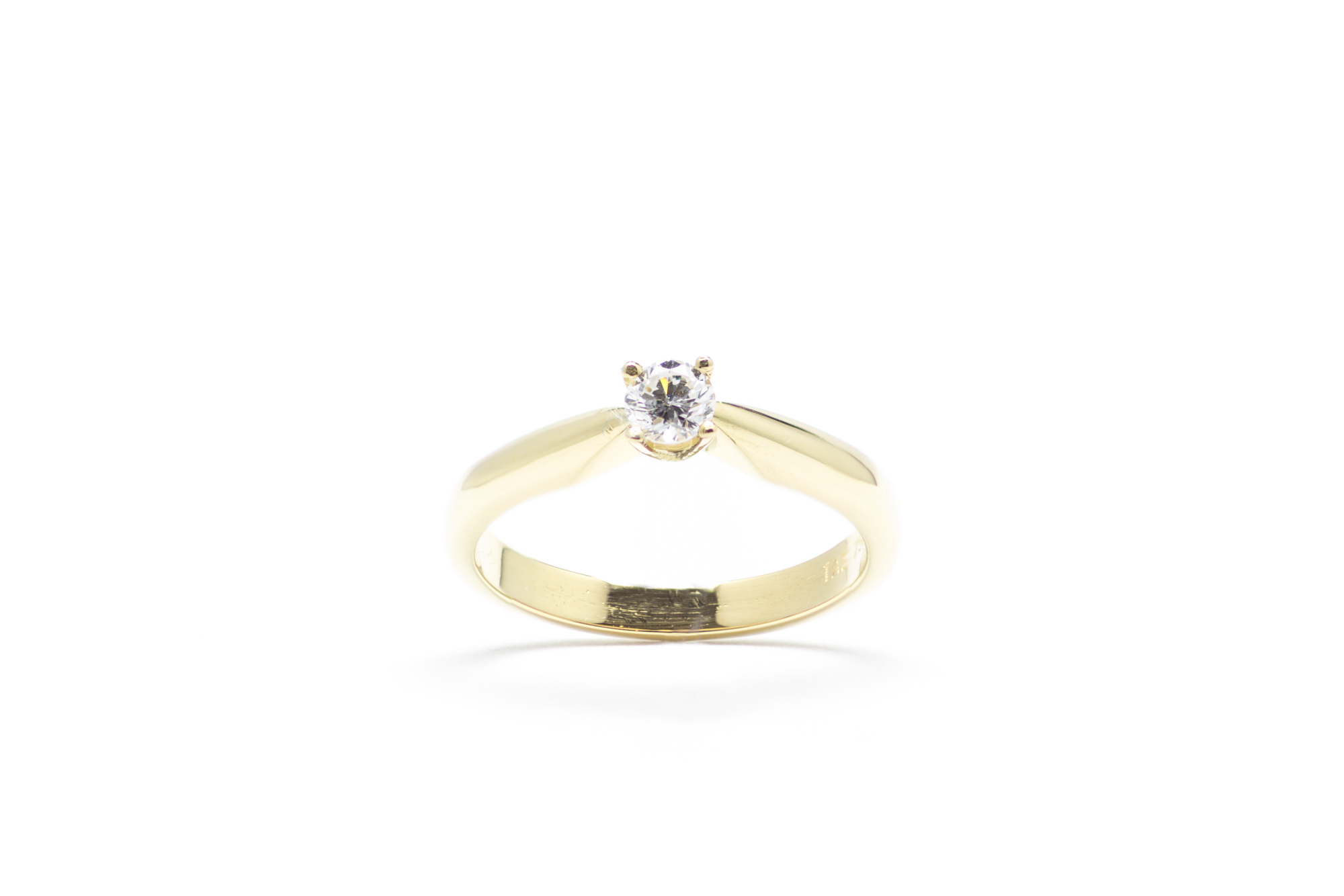 Ring, Geldgold, Brillant