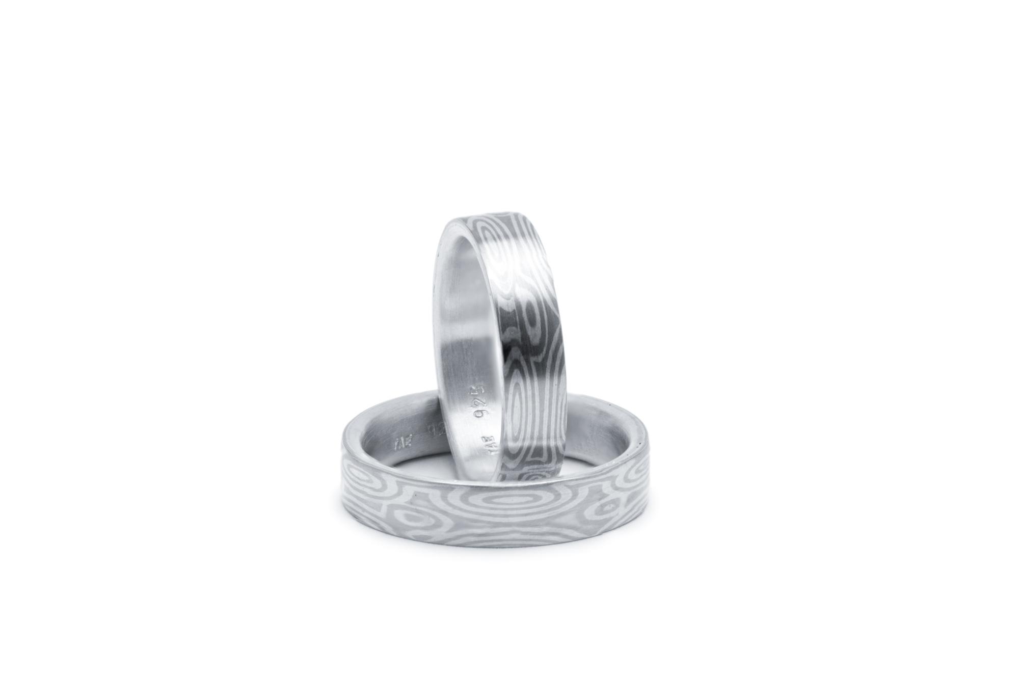 925 Silber, 590 Palladium Mokume Gane